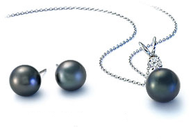 Tahitian Cultured Pearl Pendant & Earrings