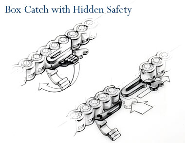 Box catch with hidden safety