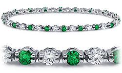 18k White Gold Emerald and Diamond Bracelet (2 1/3 ct. tw.) :  18k valentines day bracelet 18k white gold emerald and diamond bracelet 2 13 ct tw