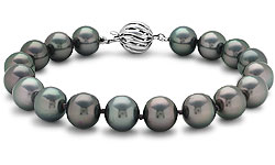 Tahitian Cultured Pearl Strand Bracelet with 18k White Gold (9-10mm) :  pearl tahitian cultured pearl strand bracelet 18k gold tahitian cultured pearl strand bracelet bluenile