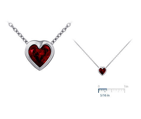 Bezel-Set Garnet Heart Pendant in Sterling Silver :  jewelry pretty